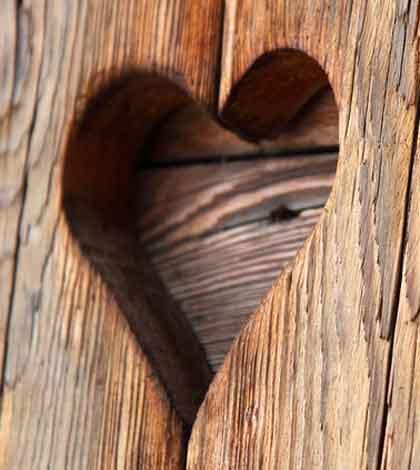 Wooden heart cut out