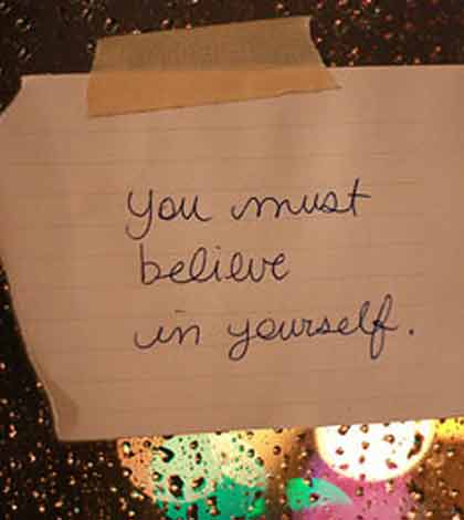 A handwritten note emphasizing on the need to believe in and find inner strength