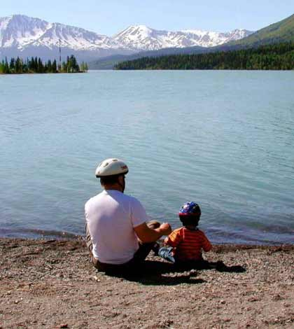 Father and son enjoying fishing at lake