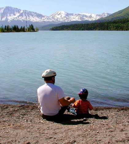 Father and son enjoying fishing at lake