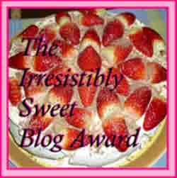 The badge for the Irresistibly Sweet Blog Award