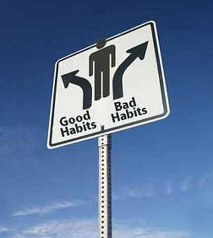 A divider sign board showing signs of good habits and bad habits in opposite direction