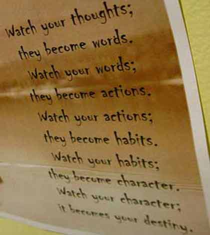 A poster listing the watch your thoughts poem