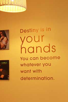 Writing on the wall that destiny is in your hands and it is the luck factor