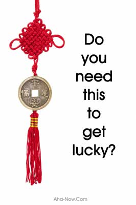 a red lucky charm as the luck factor