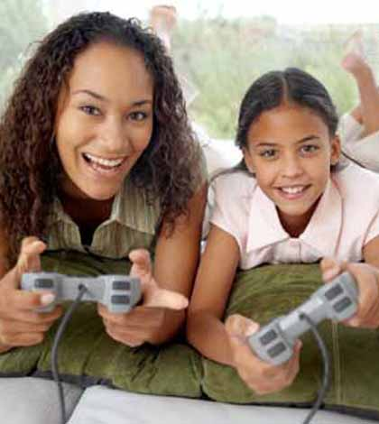 Mother setting healthy boundary with her teen child playing video games
