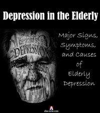 Black poster showing depression in the elderly