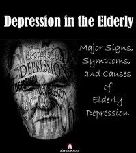 Black poster showing depression in the elderly