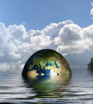 pic showing earth submerging in water if you don't change your lifestyle
