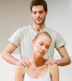 man giving woman a stress headache relief technique massage