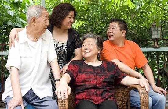 Children respecting the elderly in the family