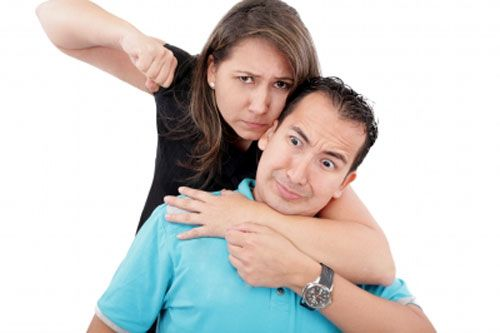 A woman showing a fist to a man expressing abusive relationship.
