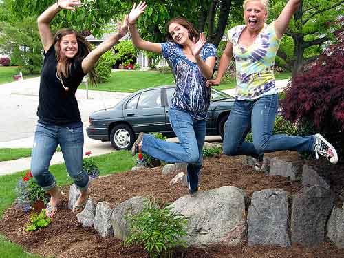 Few good friends jumping and having fun