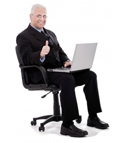 Man in good sitting posture on chair working on laptop