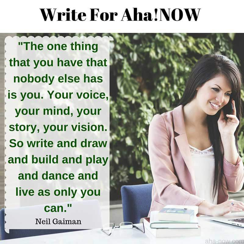 Image with a girl and message to write for Aha!NOW