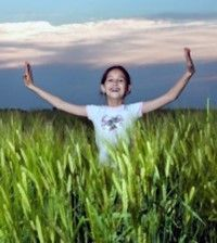 child letting go of stress and happy