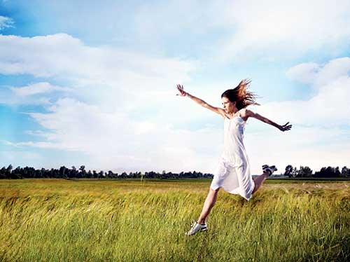 woman happy after let go of stress