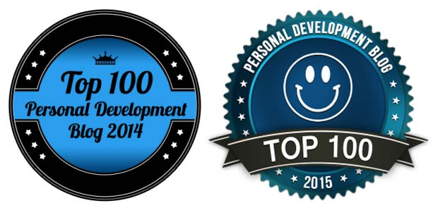 Two logos of the Top 10 Best personal development blog award