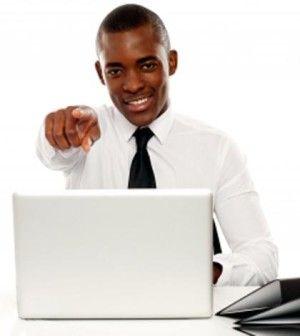 black man seeking online help to solve problems