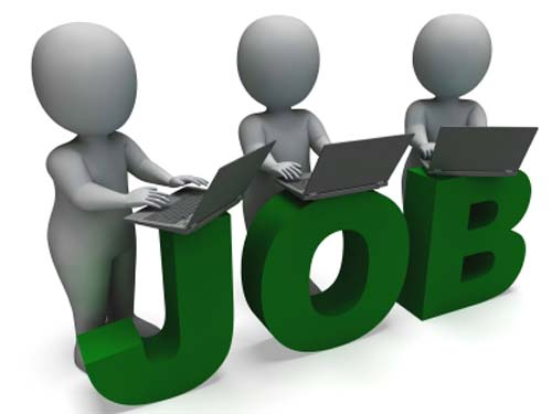 JOBS cutout and people searching freelance writing jobs on laptop