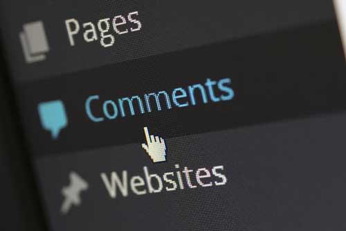 Comments menu option of WordPress
