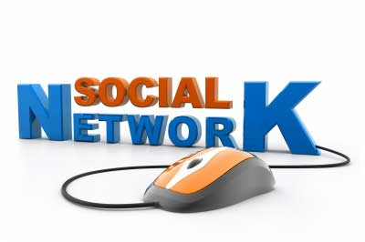 A social network sign with a mouse