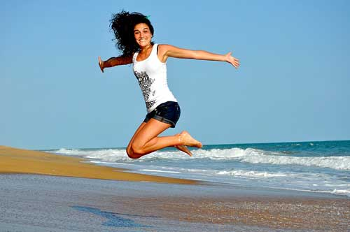 A girl enjoys living a good life