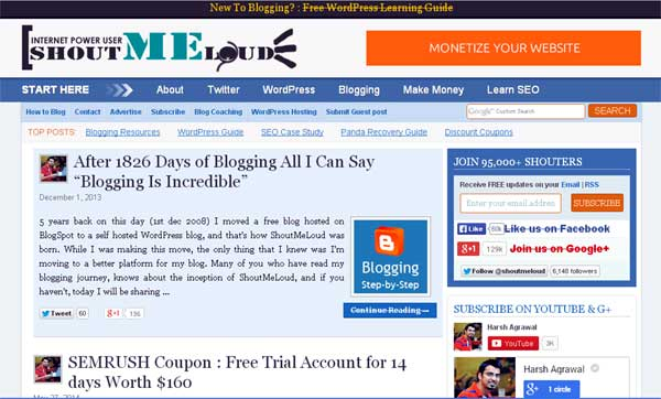 Harsh Agrawal website screenshot of ShoutMeLoud