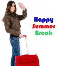 Girl going to take a summer break with suitcase in her hand