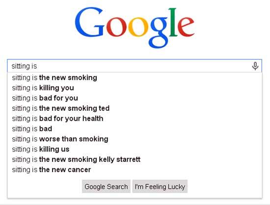 Google search screenshot for sitting disease