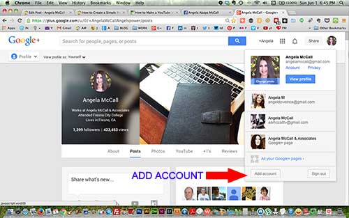 Add account shown on Google plus account page
