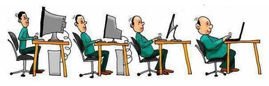 Cartoon strip showing evolution of computer sitting
