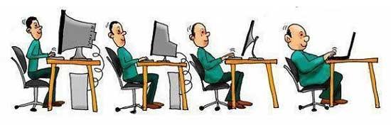 Cartoon strip showing evolution of computer sitting