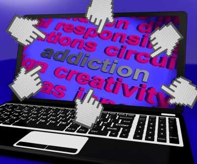 Internet addiction on laptop