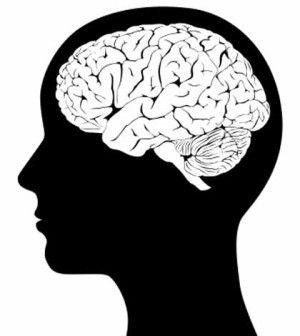 Human head diagram showing brain for mental health