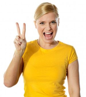 Woman happy with new feautres