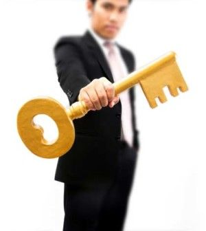 man giving key to success