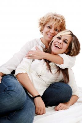 Mother and her teenage daughter after pregnancy