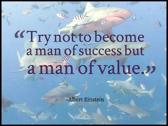 Quote of Einstein on background of sharks
