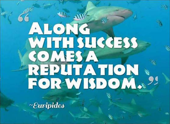 Quote of Euripides on background of sharks