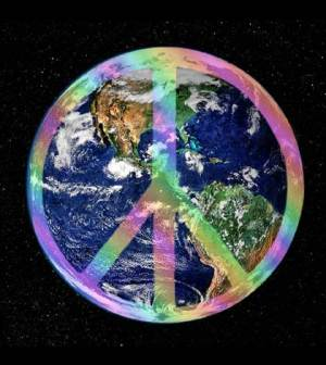 An image of peace sign superimposed on the earth picutre