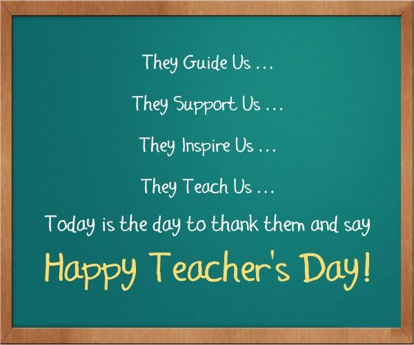 Green board with teacher's day greetings