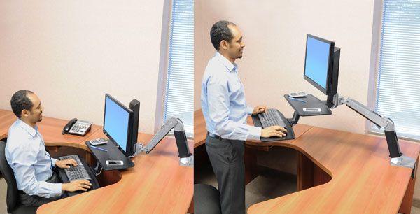 Ergotron WorkFit-A 24-390-026 sit-stand workstation inuse
