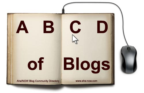 A book with mouse attached and ABCD of Blogs written