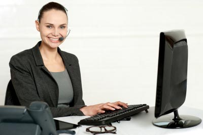 A woman blogger working on computer like in business