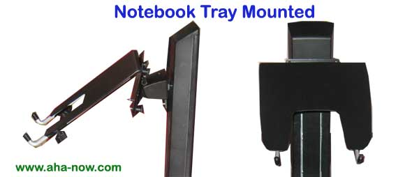 Notebook tray mounted on workstation