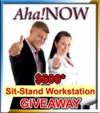 Man and woman happy about the Aha!NOW workstation giveaway