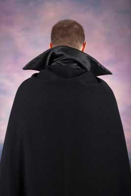 A back facing dracula man