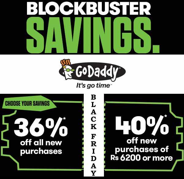 Banner of GoDaddy Black Friday Deals Offer