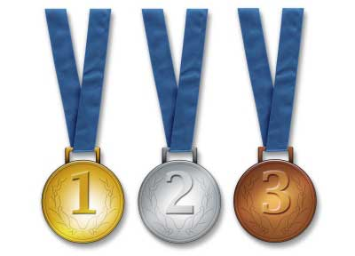 Three medals placed in line - gold, silver, and bronze